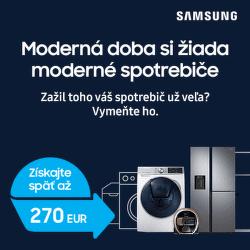 Cashback až do 270 € na vybrané spotrebiče Samsung