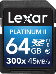 Lexar 64GB SDXC 300x Platinum II Class 10 UHS-I
