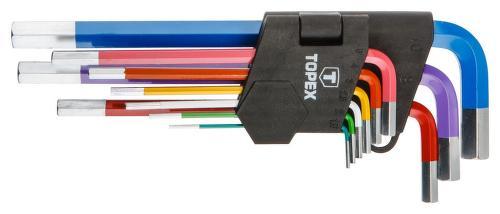 TOPEX 9 ks, farebná sada 6-hranných kľúčov