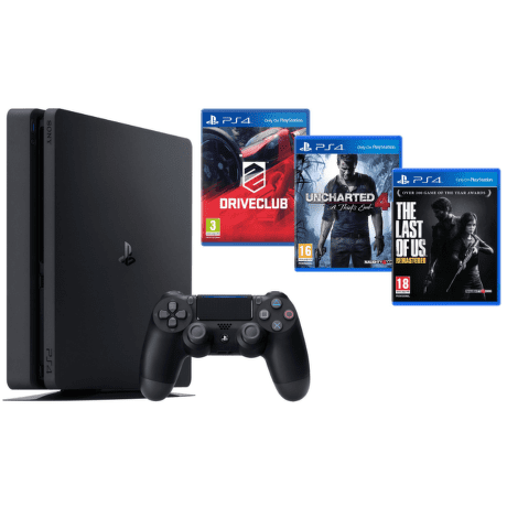 Sony PlayStation 4 1TB+DriveClub+Uncharted 4: Thiefs End+The Last of Us (čierny)