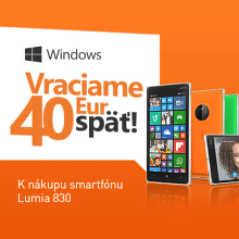 Cashback 40 € na Microsoft Lumia 830