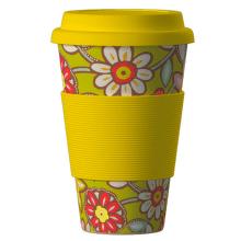 ECO BAMBOO Cup Daisies (žltá) - Ekologický termo hrnček 400 ml